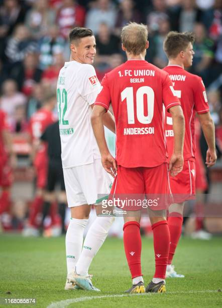 Marco Friedl of Werder Bremen and Sebastian Andersson of 1FC Union Berlin during the german soccer league match between FC Union Berlin against SV...