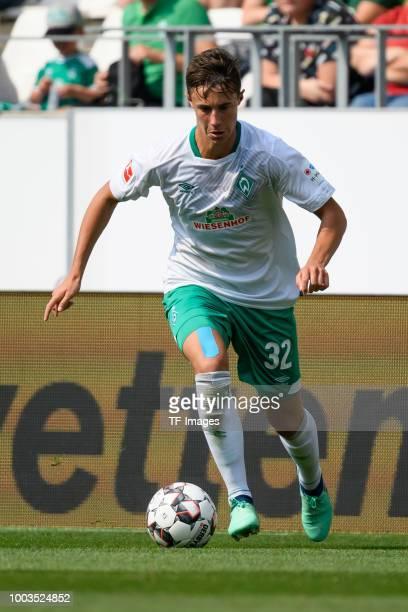 Marco Friedl of Werder Bremen controls the ball during the Interwetten Cup match between RotWeiss Essen and SV Werder Bremen at Stadion Essen on July...