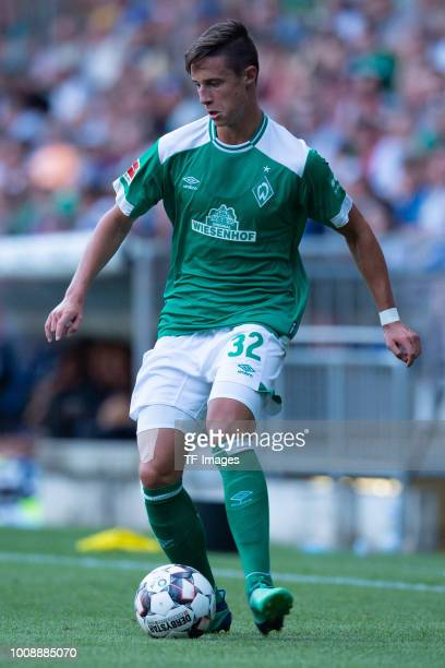 Marco Friedl of Werder Bremen controls the ball during the Friendly match between Arminia Bielefeld and SV Werder Bremen at SchücoArena on July 27...