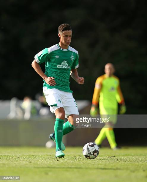 Marco Friedl of Werder Bremen controls the ball during the friendly match between OSC Bremerhaven and Werder Bremen on July 10 2018 in Bremerhaven...
