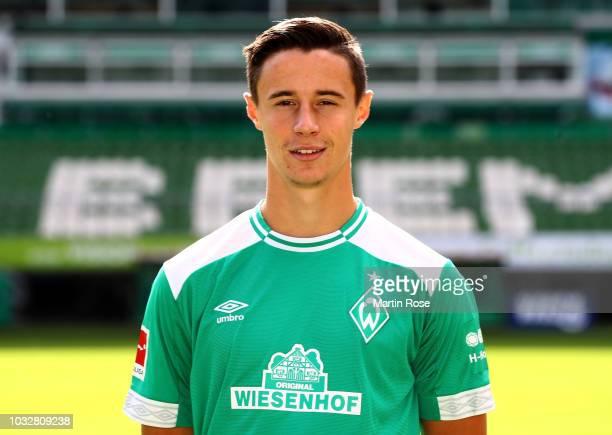 Marco Friedl of Werder Bremen poses during the team presentation at Weser Stadion on September 13 2018 in Bremen Germany
