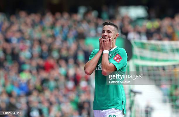 Marco Friedl of Werder Bremen reacts during the Bundesliga match between SV Werder Bremen and Hertha BSC at Wohninvest Weserstadion on October 19...