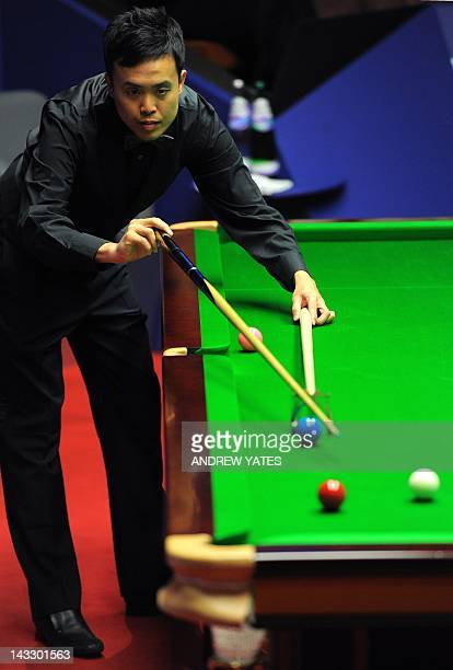 Marco Fu of Hong Kong plays a shot during his first round match of the World Championship Snooker tournament against Matthew Stevens of Wales at the...