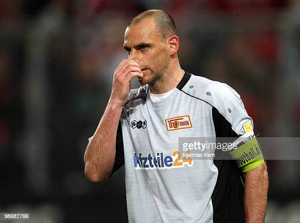 Marco Gebhardt of Berlin shows his frustration during the Second Bundesliga match between FC Energie Cottbus and 1.FC Union Berlin at Stadion der...
