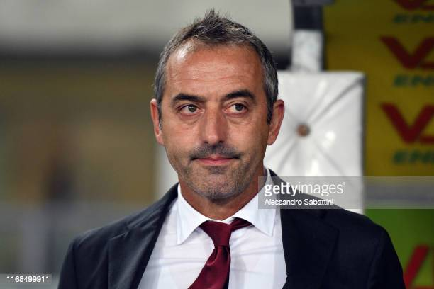 Marco Giampaolo head coach of AC Milan looks on during the Serie A match between Hellas Verona and AC Milan at Stadio Marcantonio Bentegodi on...