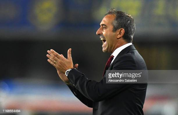 Marco Giampaolo head coach of AC Milan reacts during the Serie A match between Hellas Verona and AC Milan at Stadio Marcantonio Bentegodi on...
