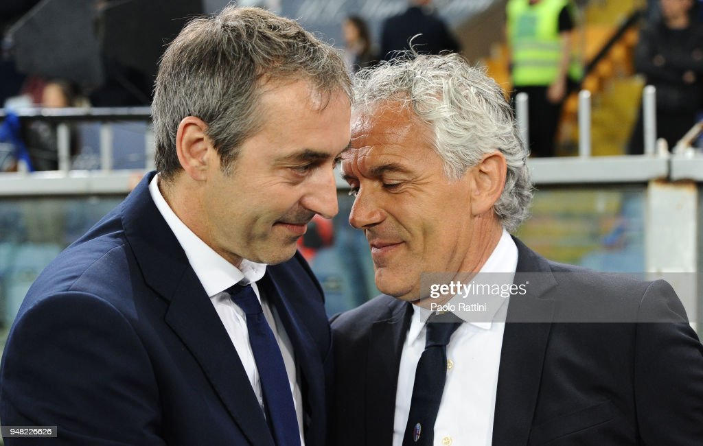 Marco Giampaolo head coach of Sampdoria and Roberto Donadoni head coach of Bologna during the serie A match between UC Sampdoria and Bologna FC at Stadio Luigi Ferraris on April 18, 2018 in Genoa, Italy.