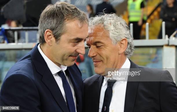 Marco Giampaolo head coach of Sampdoria and Roberto Donadoni head coach of Bologna during the serie A match between UC Sampdoria and Bologna FC at...