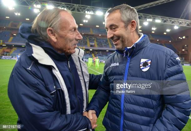 Marco Giampaolo head coach of Sampdoria and Zdenek Zeman head coach of Pescara during the Tim Cup match between UC Sampdoria and Pescara Calcio at...