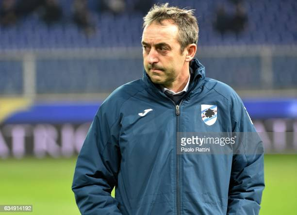 Marco Giampaolo head coach of Sampdoria during the Serie A match between UC Sampdoria andv Bologna FC at Stadio Luigi Ferraris on February 12 2017 in...