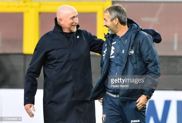 Marco Giampaolo head coach of Torino FC and Rolando Maran head coach of Genoa CFC before the Serie A match between Genoa CFC and Torino FC at Stadio...