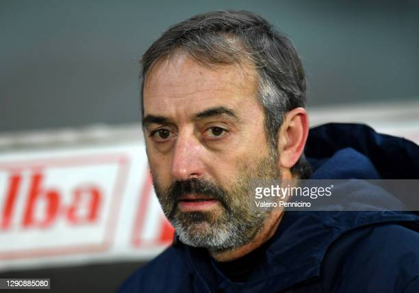 Marco Giampaolo, Head Coach of Torino F.C. Looks on during the Serie A match between Torino FC and Udinese Calcio at Stadio Olimpico di Torino on...