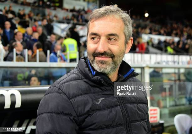 Marco Giampaolo head coach of UC Sampdoria during the Serie A match between UC Sampdoria and AS Roma at Stadio Luigi Ferraris on April 6 2019 in...