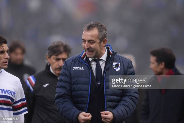 Marco Giampaolo head coach of UC Sampdoria reacts during the haltime during the Serie A match between Bologna FC and UC Sampdoria at Stadio Renato...