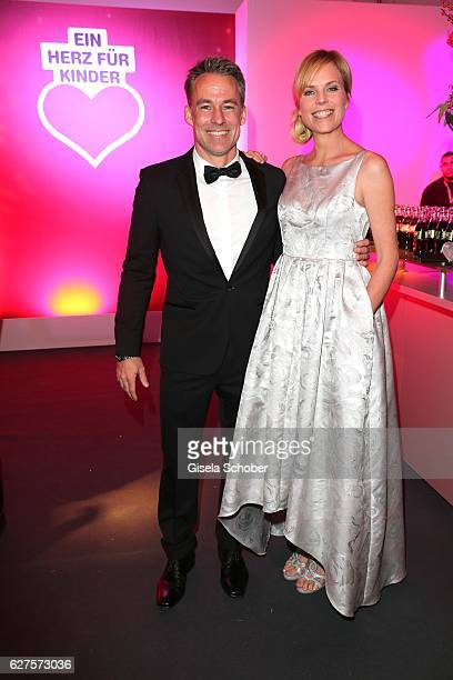 Marco Girnth and Melanie Marschke are seen during the Ein Herz Fuer Kinder reception at Adlershof Studio on December 3 2016 in Berlin Germany