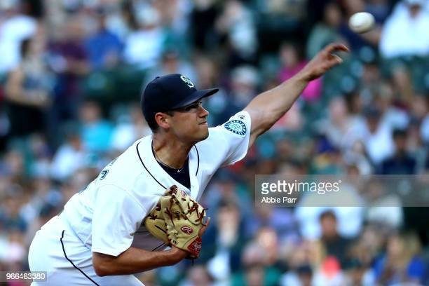 Marco Gonzales of the Seattle Mariners pitches against the Tampa Bay Rays in the first inning during their game at Safeco Field on June 2 2018 in...