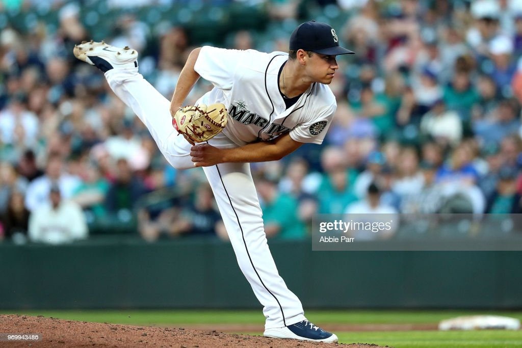 Marco Gonzales #32 of the Seattle Mariners pitches against the Tampa Bay Rays in the third inning during their game at Safeco Field on June 2, 2018 in Seattle, Washington.