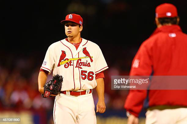 Marco Gonzales of the St. Louis Cardinals is removed from the game by manager Mike Matheny in the seventh inning against the San Francisco Giants...