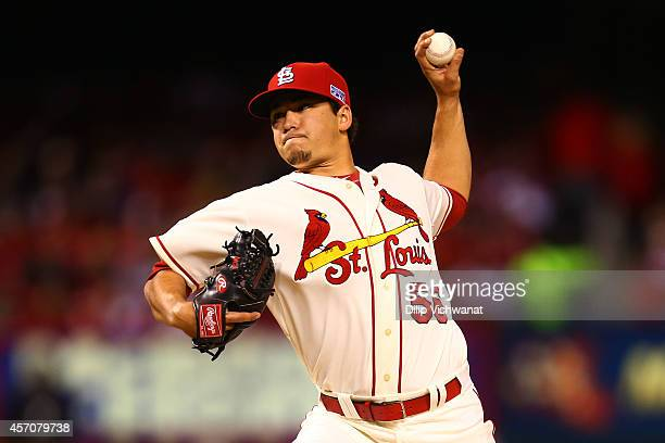 Marco Gonzales of the St. Louis Cardinals pitches in the fifth inning against the San Francisco Giants during Game One of the National League...
