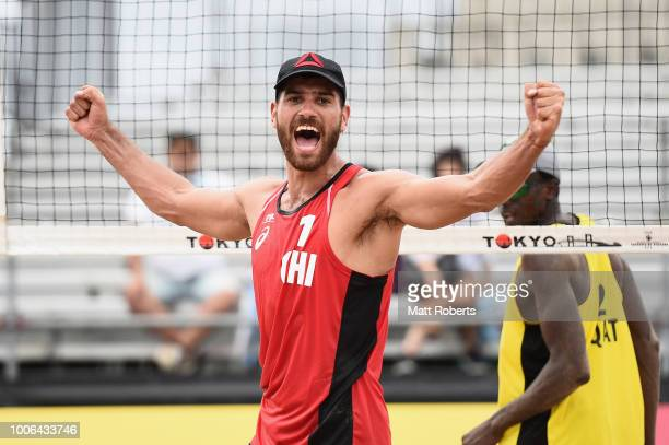Marco Grimalt of Chile celebrates victory during the Men's round 3 match between Cherif Younousse and Ahmed Tijan of Qatar and Marco Grimalt and...