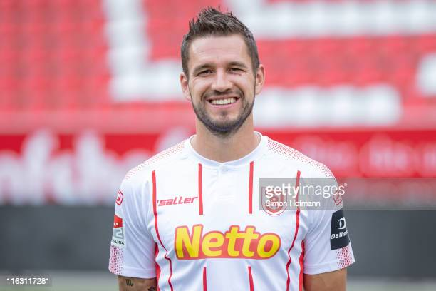 Marco Gruettner of Jahn Regensburg poses during the team presentation at Continental Arena on July 18, 2019 in Regensburg, Germany.