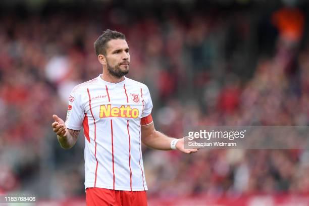 Marco Gruettner of Regensburg gestures during the Second Bundesliga match between 1. FC Nürnberg and SSV Jahn Regensburg at Max-Morlock-Stadion on...