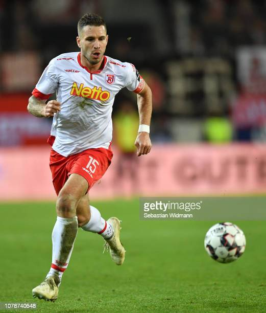 Marco Gruettner of Regensburg plays the ball during the Second Bundesliga match between SSV Jahn Regensburg and 1. FC Koeln at Continental Arena on...
