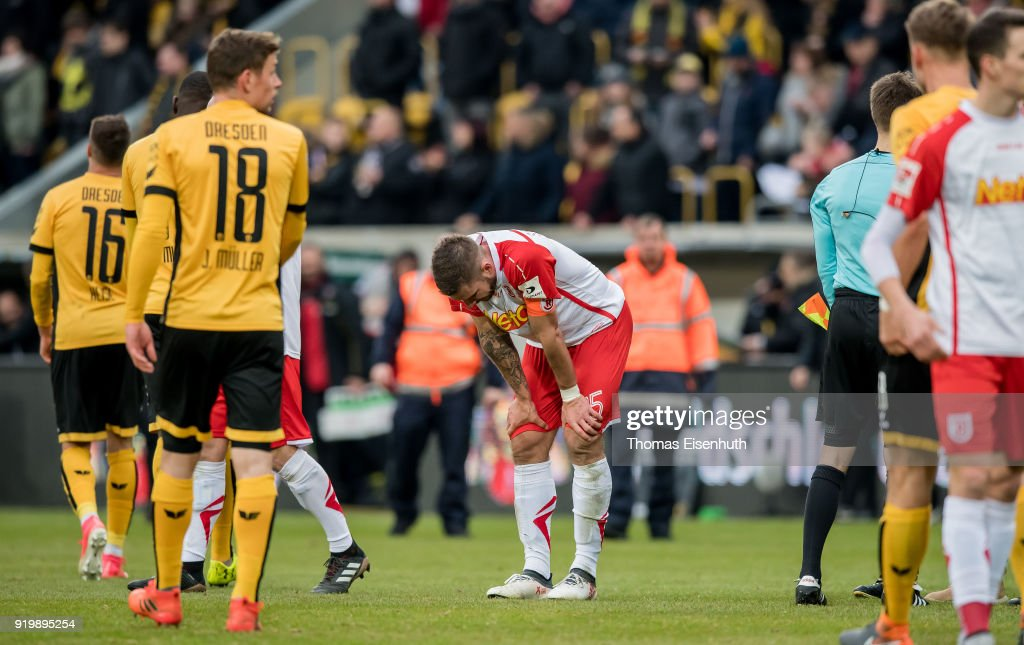Marco Gruettner (C) of Regensburg reacts after the Second Bundesliga match between SG Dynamo Dresden and SSV Jahn Regensburg at DDV-Stadion on February 18, 2018 in Dresden, Germany.
