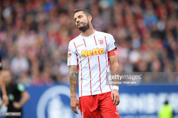 Marco Gruettner of Regensburg reacts during the Second Bundesliga match between 1. FC Nürnberg and SSV Jahn Regensburg at Max-Morlock-Stadion on...
