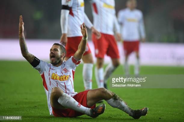 Marco Gruettner of Regensburg reacts during the Second Bundesliga match between SSV Jahn Regensburg and VfL Osnabrück at Continental Arena on...
