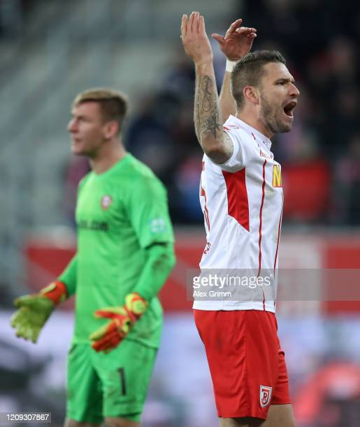 Marco Gruettner of Regensburg reacts during the Second Bundesliga match between SSV Jahn Regensburg and SG Dynamo Dresden at Continental Arena on...