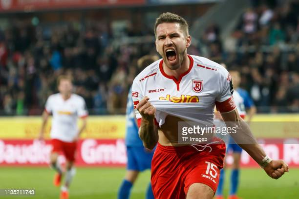 Marco Gruettner of SSV Jahn Regensburg celebrates after scoring his team's second goal during the Second Bundesliga match between SSV Jahn Regensburg...
