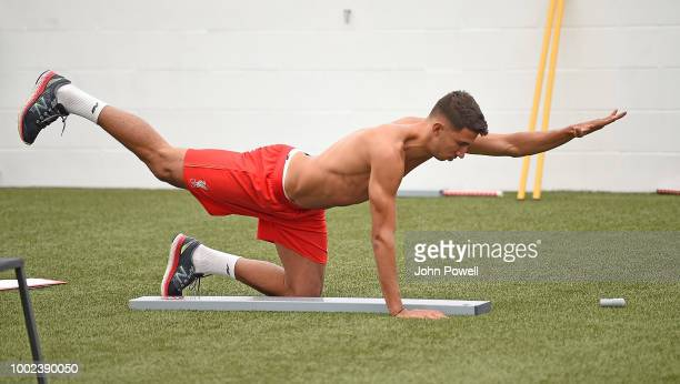 Marco Grujic of Liverpool undergoes tests during a training session on his first day back at Melwood Training Ground on July 20 2018 in Liverpool...