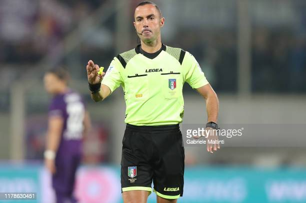 Marco Guida referee during the Serie A match between ACF Fiorentina and SS Lazio at Stadio Artemio Franchi on October 27, 2019 in Florence, Italy.