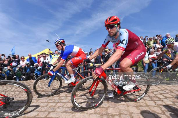 Marco Haller of Austria and Team Katusha Alpecin / Arnaud Demare of France and Team Groupama FDJ / Pave Cobblestones / Fans / Public / during the...