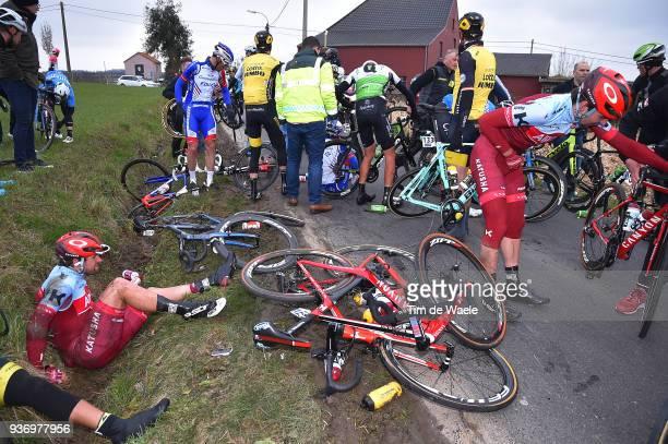 Marco Haller of Austria and Team Katusha-Alpecin / Baptiste Planckaert of Belgium and Team Katusha-Alpecin / Crash / Peloton / during the 61st E3...