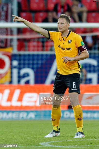 Marco Hartmann of Dynamo Dresden gestures during the Second Bundesliga match between SSV Jahn Regensburg and SG Dynamo Dresden on September 14 2018...
