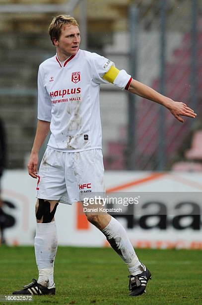 Marco Hartmann of Halle reacts during the third Bundesliga match between SpVgg Unterhaching and Hallescher FC on February 3 2013 in Unterhaching...