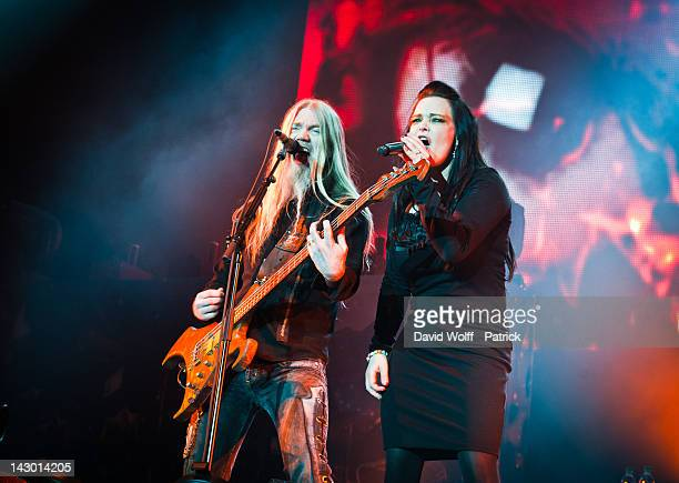Marco Hietala and Anette Olzon of Nightwish perform at Palais Omnisports de Bercy on April 17 2012 in Paris France