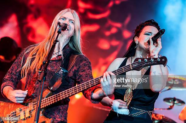 Marco Hietala and Anette Olzon of Nightwish performs on stage at the ISS Dome on April 14 2012 in Duesseldorf Germany