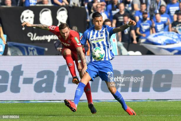 Marco Hoeger of 1 FC Koeln and Davie Selke of Hertha BSC during the Bundesliga game between Hertha BSC and 1st FC Koeln at Olympiastadion on April 14...
