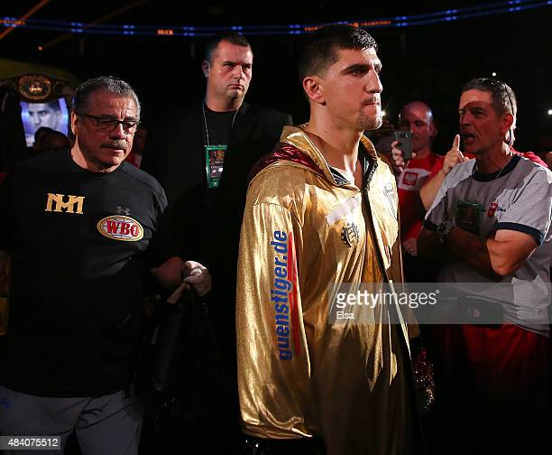 Marco Huck enters the arena floor before his bout against Krzysztof Glowacki during the Premier Boxing Champions Cruiserweight bout at the Prudential...