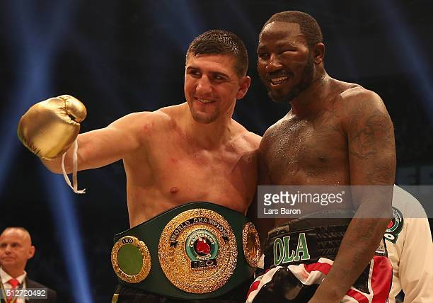 Marco Huck hughs Ola Afolabi after winning the IBO Cruiserweight World Championship fight between Marco Huck and Ola Afolabi at Gerry Weber Stadium...