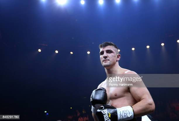 Marco Huck of Germany during the WBO Cruiserweight World Boxing Super Series fight against Aleksandr Usyk of Ukraine at Max Schmeling Halle on...