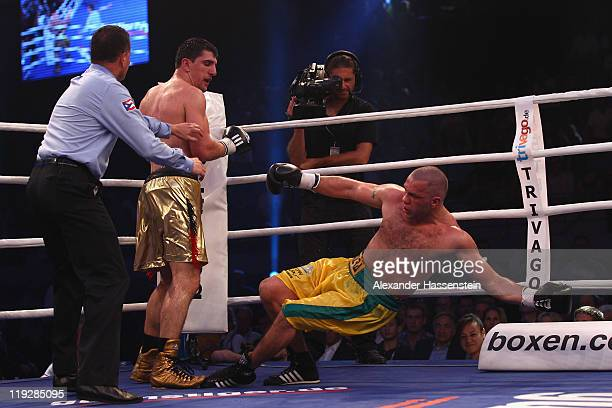 Marco Huck of Germany knock out Hugo Hernan Garay of Argentinia at round 10 during their WBO World Championship Cruiserweight title fight at Olympia...
