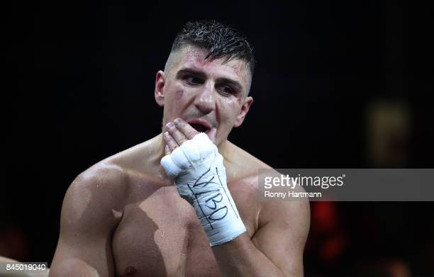Marco Huck of Germany looks dejected after the WBO Cruiserweight World Boxing Super Series fight against Aleksandr Usyk of Ukraine at Max Schmeling...