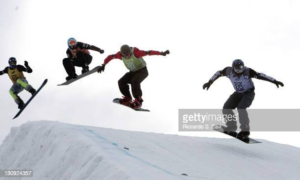 Marco Huser leads the pack in the Men's Ultracross Semifinal event during the Winter X Games IX at Buttermilk Mountain in Aspen Colorado on January...