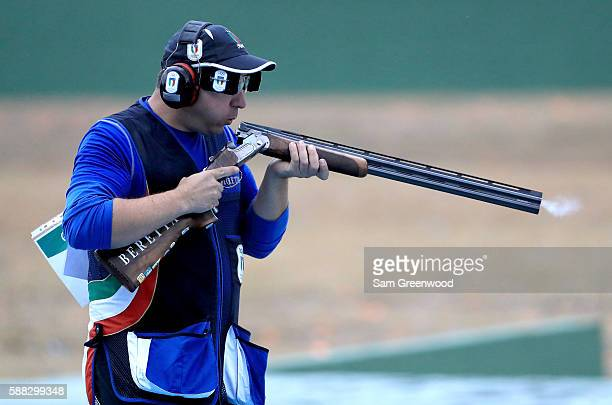 Marco Innocenti of Italy competes in the Double Trap gold medal match on Day 5 of the Rio 2016 Olympic Games at the Olympic Shooting Centre on August...