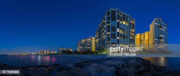 marco island skyline at night, marco island, florida, usa - marco island stock pictures, royalty-free photos & images