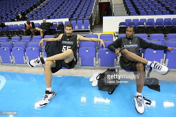 Marco Jaric and Greg Buckner of the Minnesota Timberwolves relax on the court during media availability in the O2 Arena in London during NBA Europe...